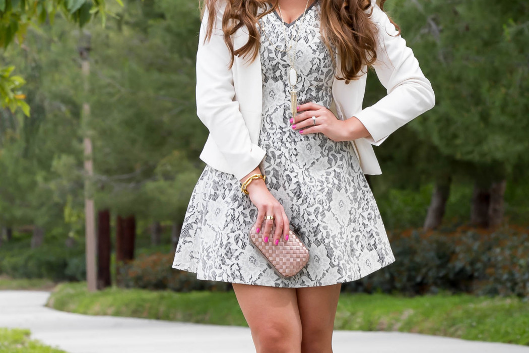 #OOTD // White & Grey Lace Dress