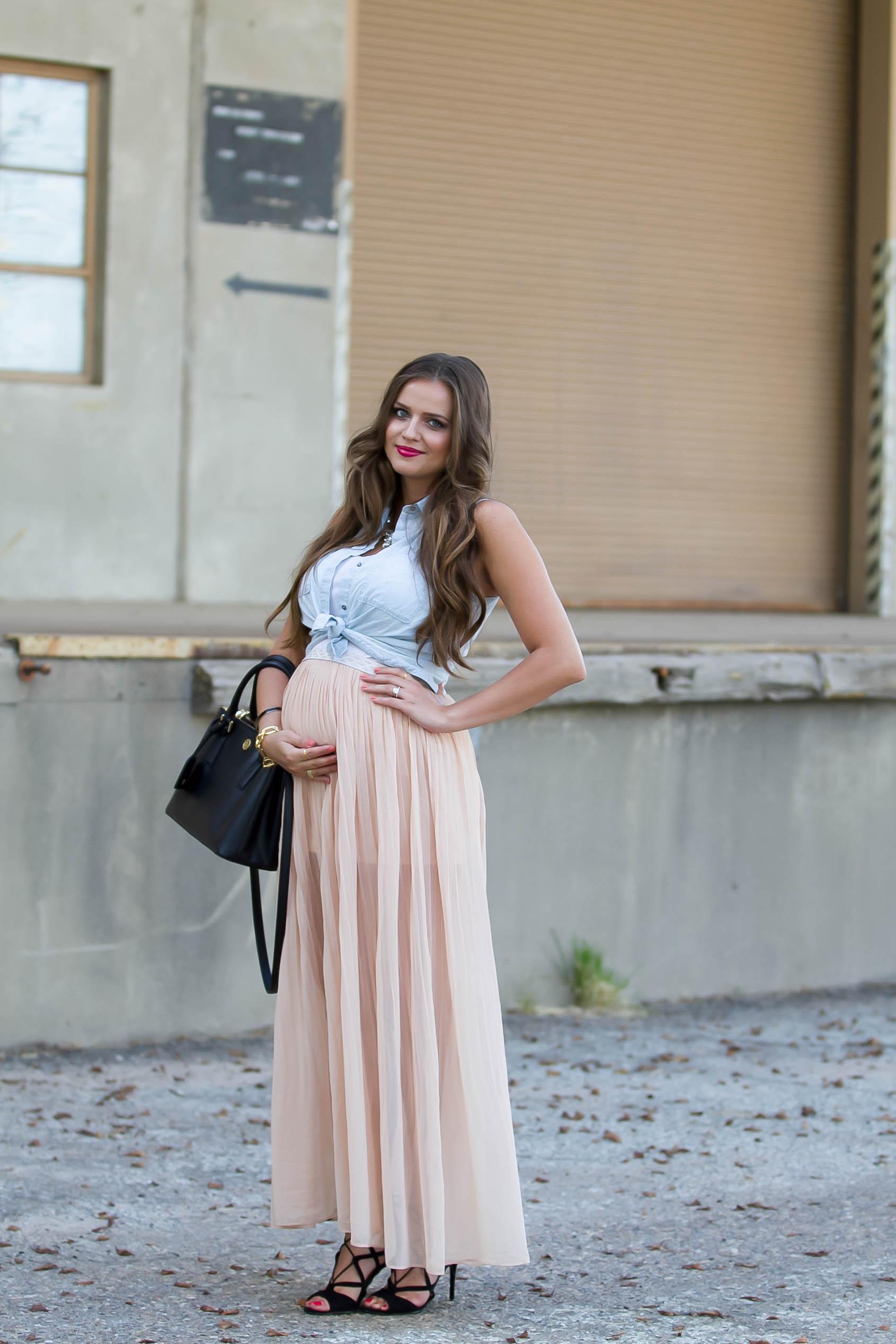 #BumpStyle // Chiffon Maxi Skirt & Tie-Front Chambray ...
