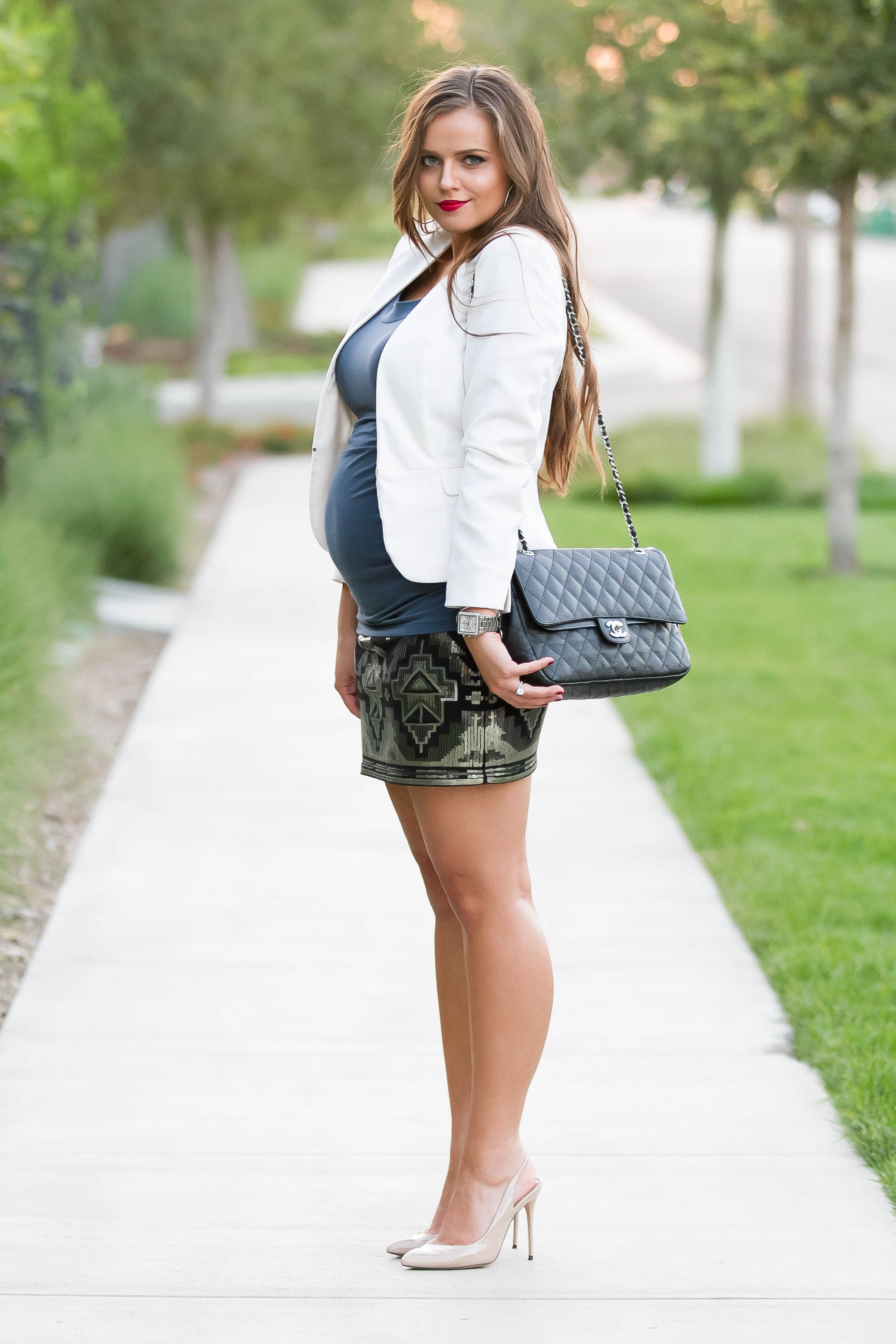 BumpStyle // Ruched Tee & Sequin Mini Skirt | BondGirlGlam.com