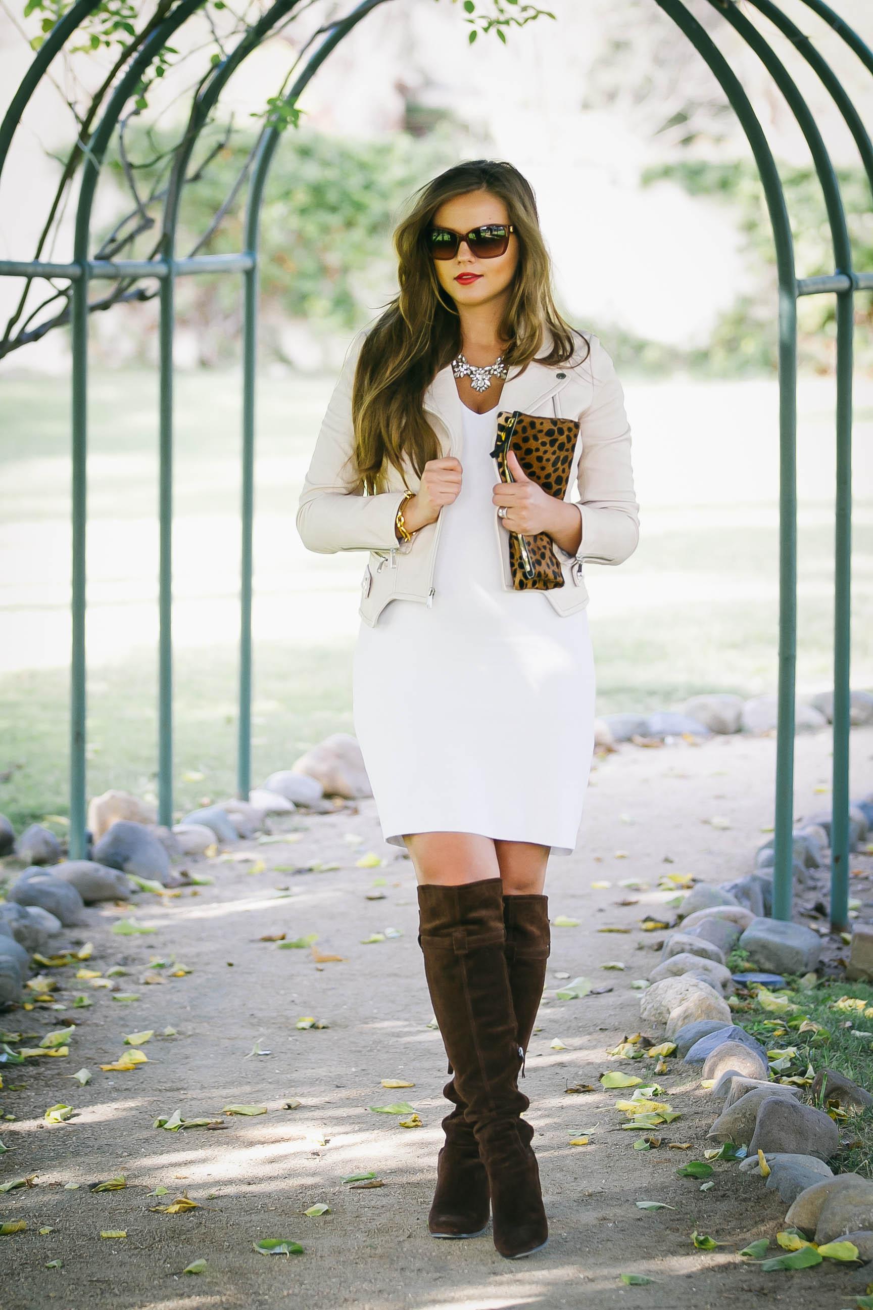 BumpStyle // Little White Dress & Boots | BondGirlGlam.com