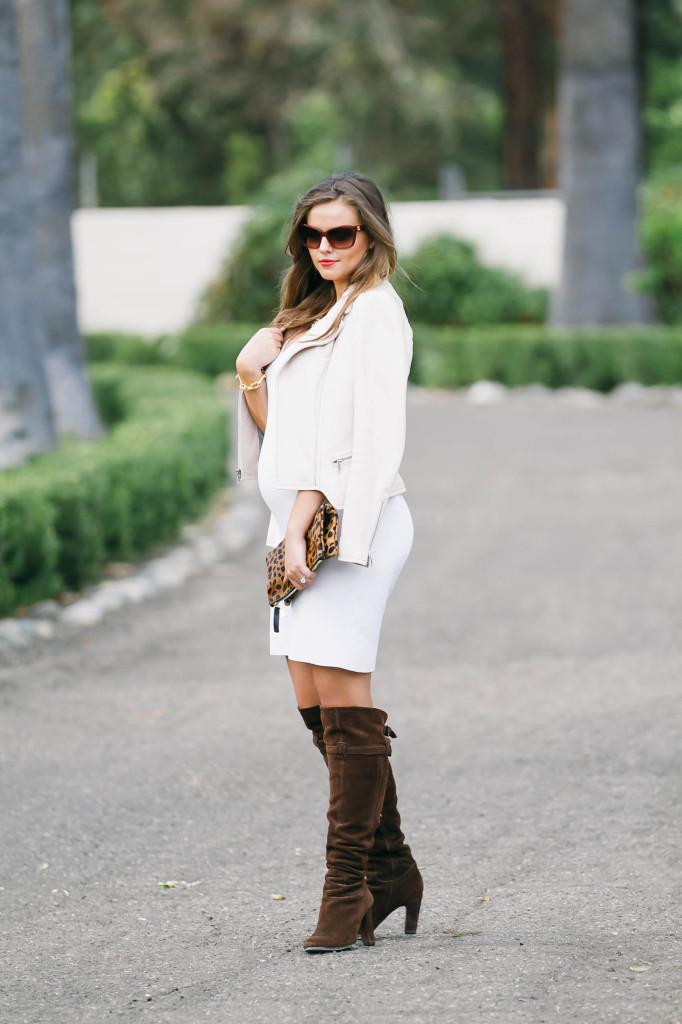 #BumpStyle // Little White Dress & Boots | BondGirlGlam.com