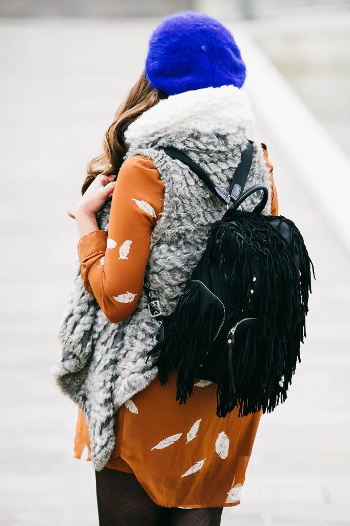 #BumpStyle // Boho Glam Shirtdress & Fur Vest | BondGirlGlam.com