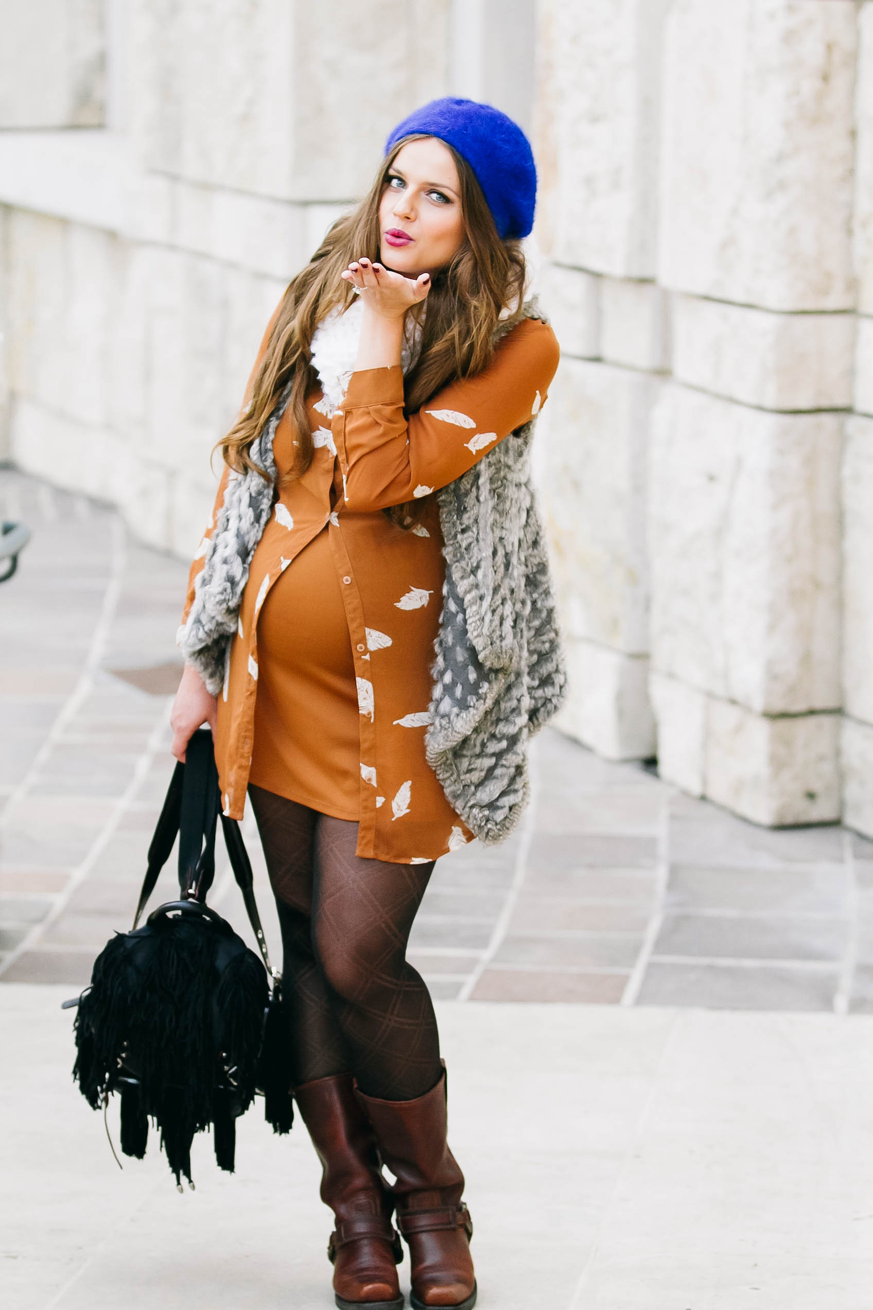 Bumpstyle Boho Glam Shirtdress Fur Vest