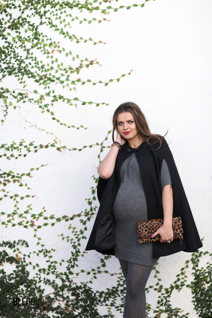 #BumpStyle // Black Cape & Grey Cashmere Dress | BondGirlGlam.com