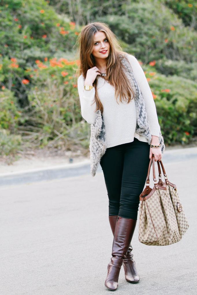 #OOTD // Boho Glam Fur Vest & Floppy Hat | BondGirlGlam.com