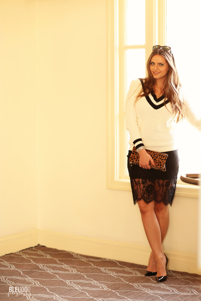 #OOTD // Varisty Sweater & Lace Pencil Skirt | BondGirlGlam.com