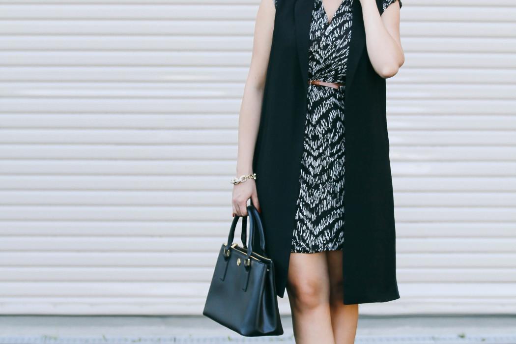 #OOTD // Long Black Vest & Wrap Dress   BondGirlGlam.com