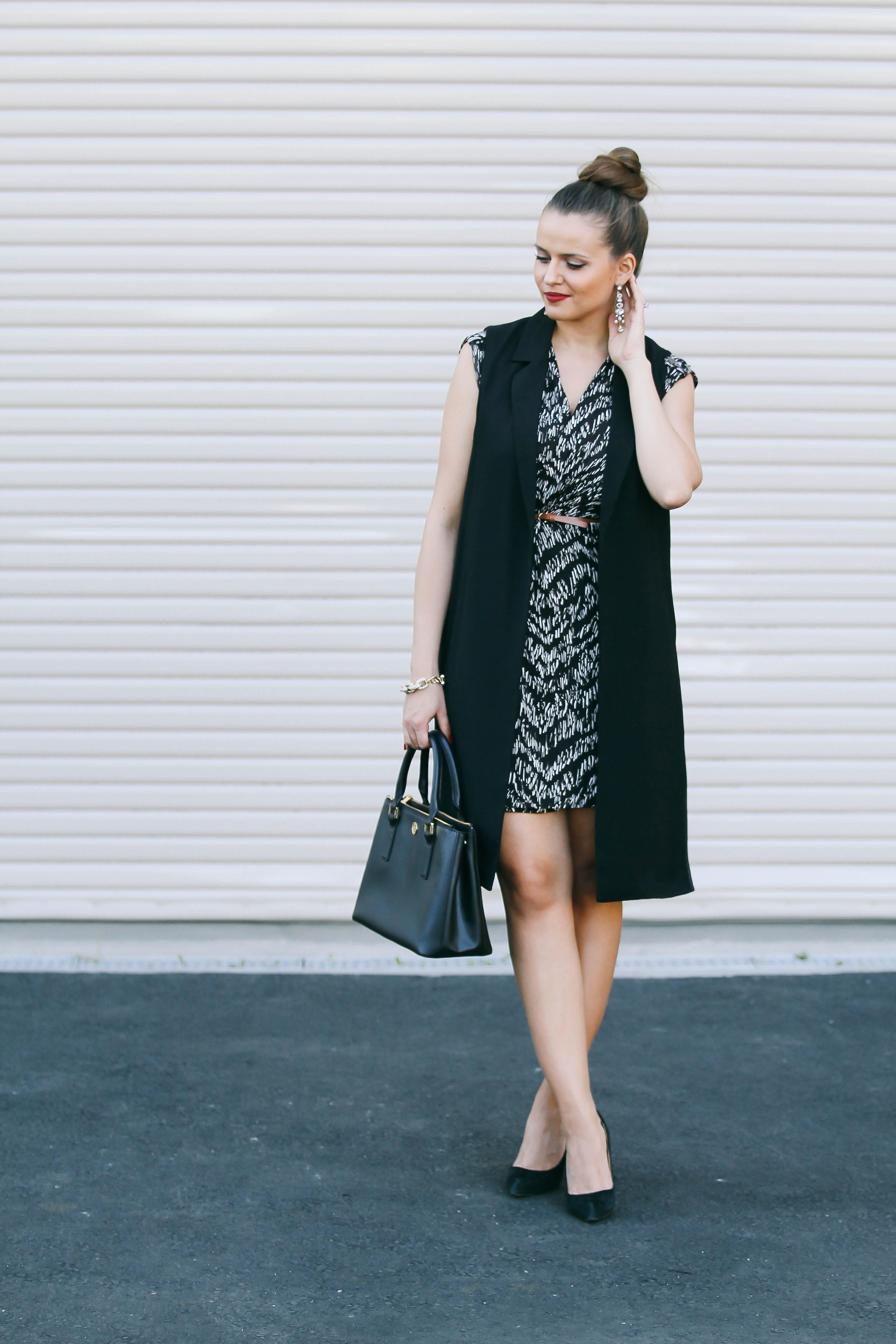 Ootd Long Black Vest Amp Wrap Dress Bondgirlglam Com