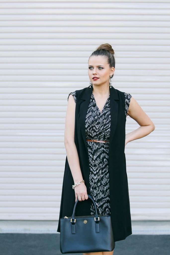 #OOTD // Long Black Vest & Wrap Dress | BondGirlGlam.com
