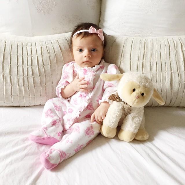 vienna_7_weeks_old_baby_floral_footie