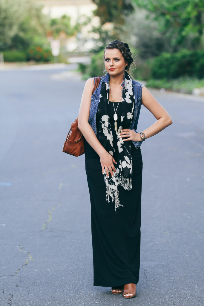 #OOTD // Denim Vest & Black Maxi Dress | BondGirlGlam.com