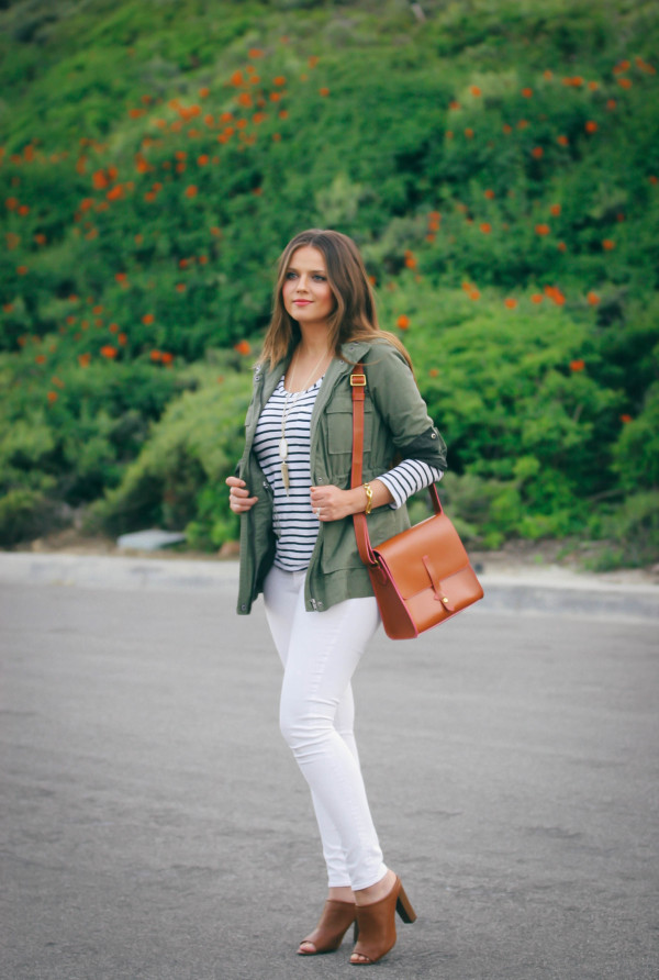 #OOTD // Casual Safari Chic Green Anorak & White Skinnies | BondGirlGlam.com