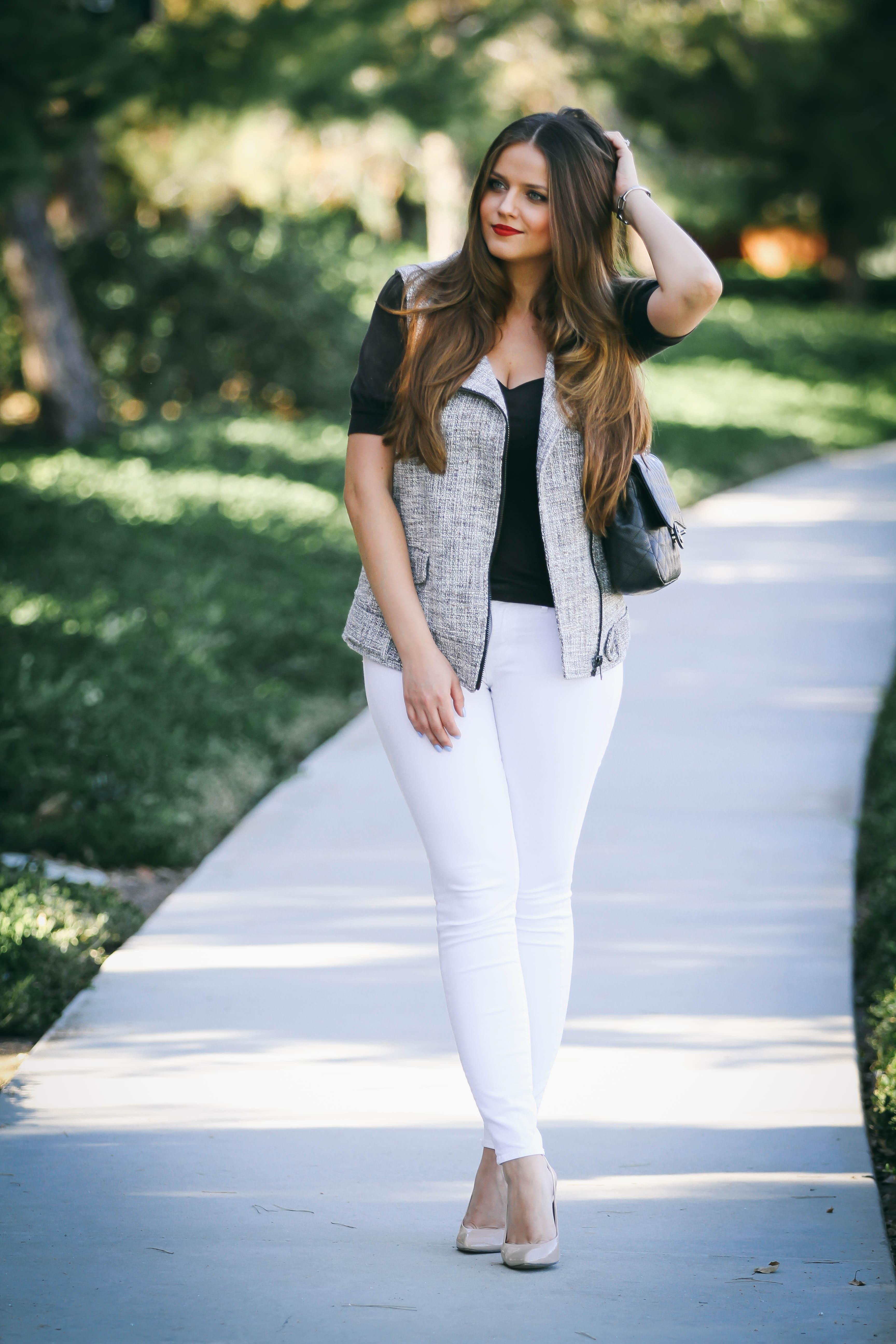 Ootd  Tweed Moto Vest  White Skinny Jeans -5807