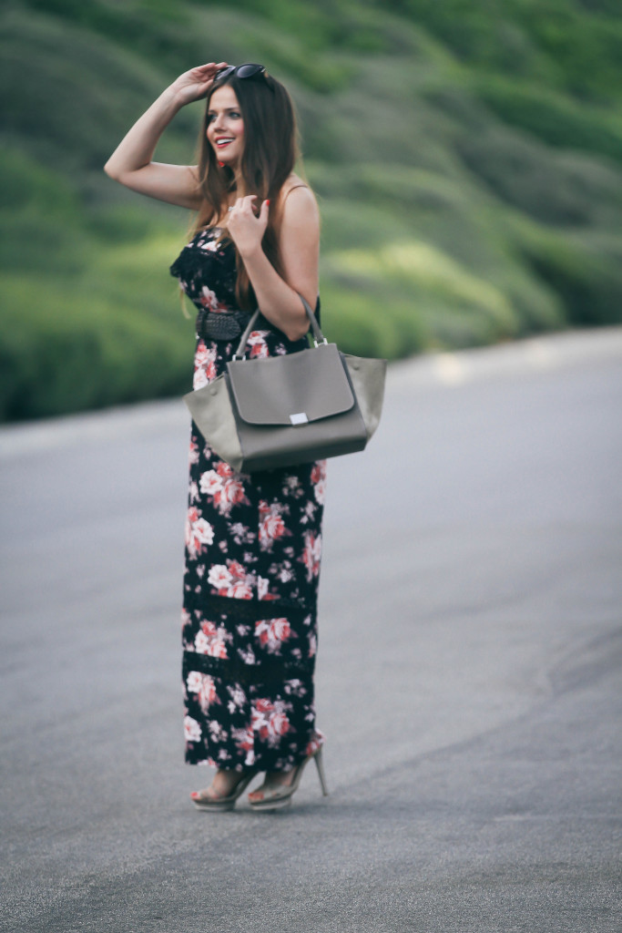 #OOTD // Black Floral Maxi Dress & Celine Trapeze | BondGirlGlam.com