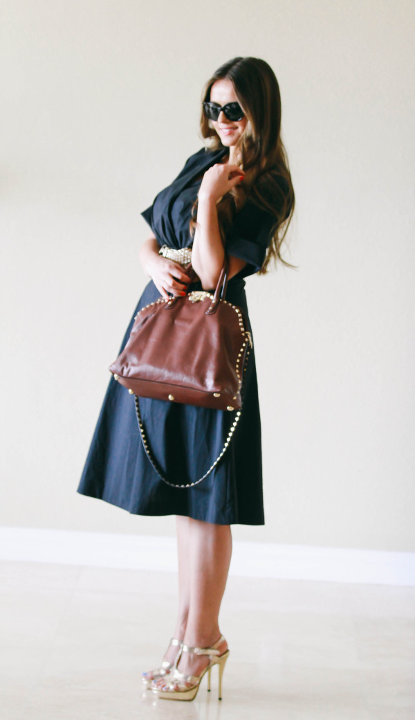 #OOTD // Dark Blue Wrap Dress & Valentino Dome Bag | BondGirlGlam.com