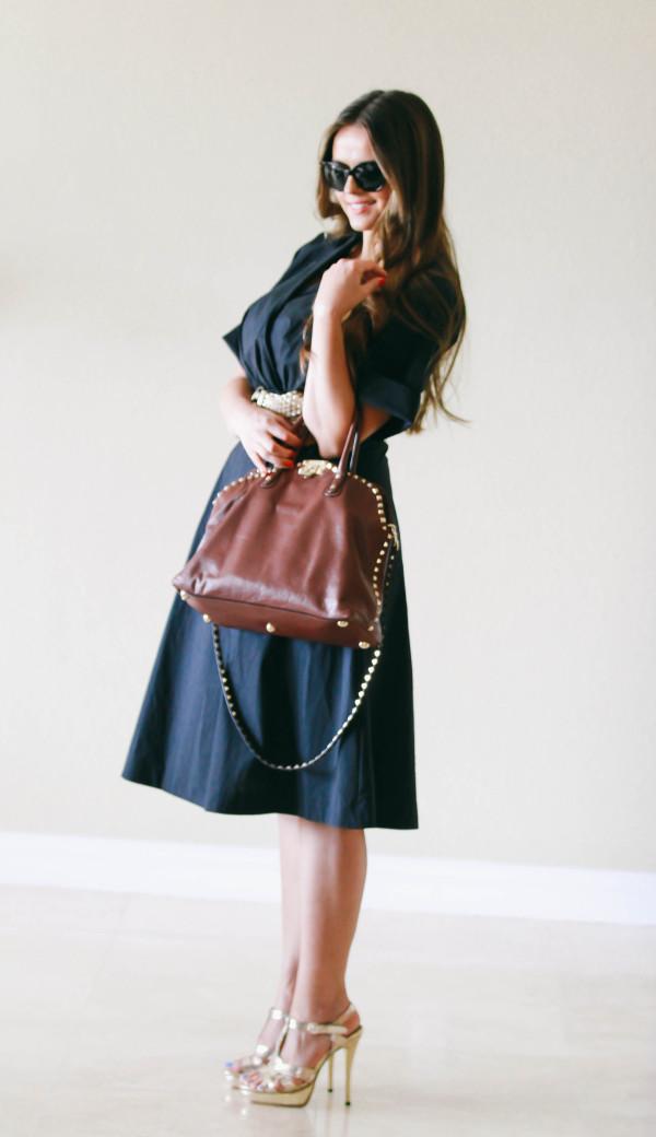 #OOTD // Dark Blue Wrap Dress & Valentino Dome Bag | BondGirlGlam.com