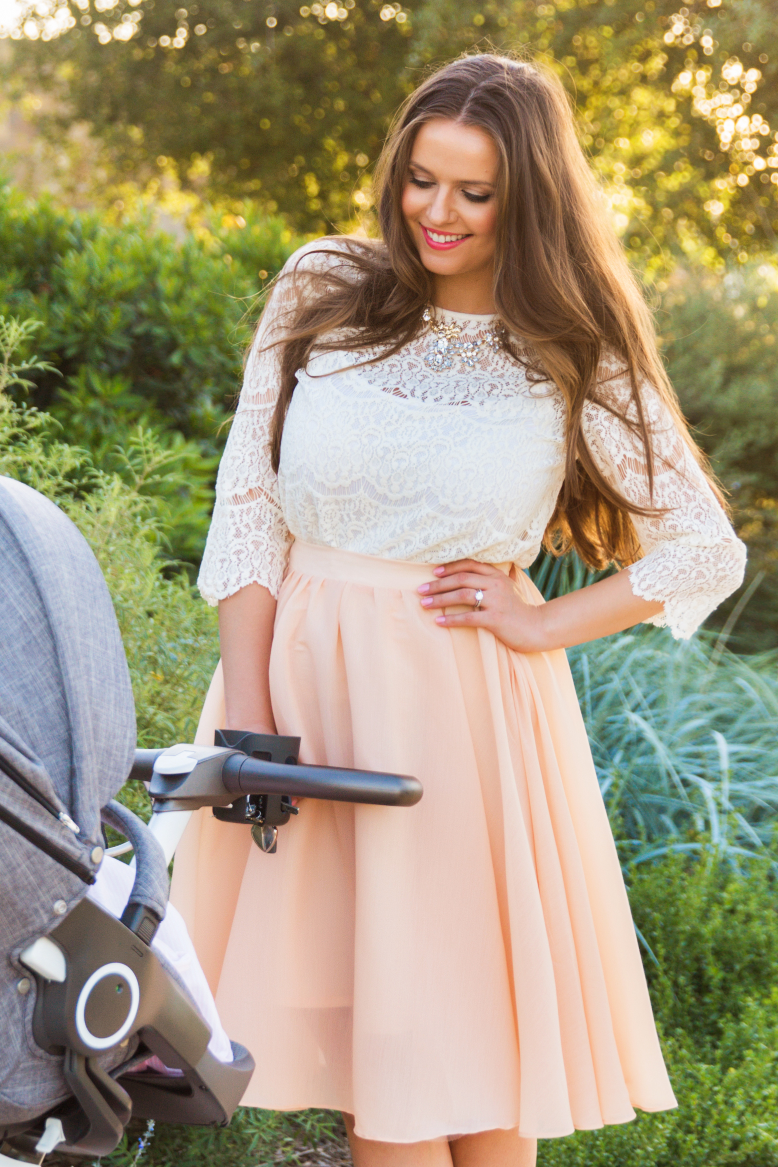 OOTD // Lace Top & Peach Midi Skirt | BondGirlGlam.com