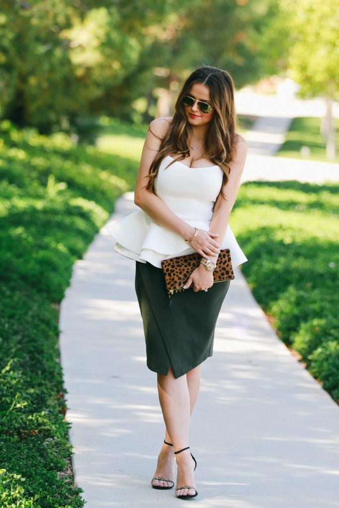 #OOTD // White Peplum Top & Green Asymmetrical Skirt | BondGirlGlam.com