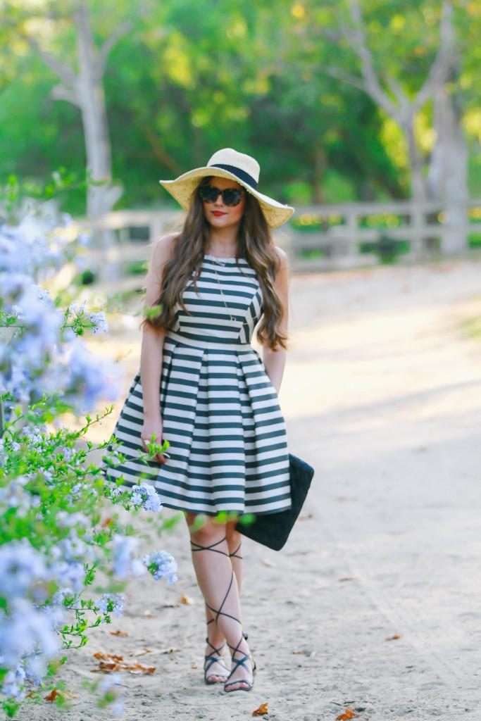 #OOTD // Striped A-Line Dress & Gladiator Sandals | BondGirlGlam.com
