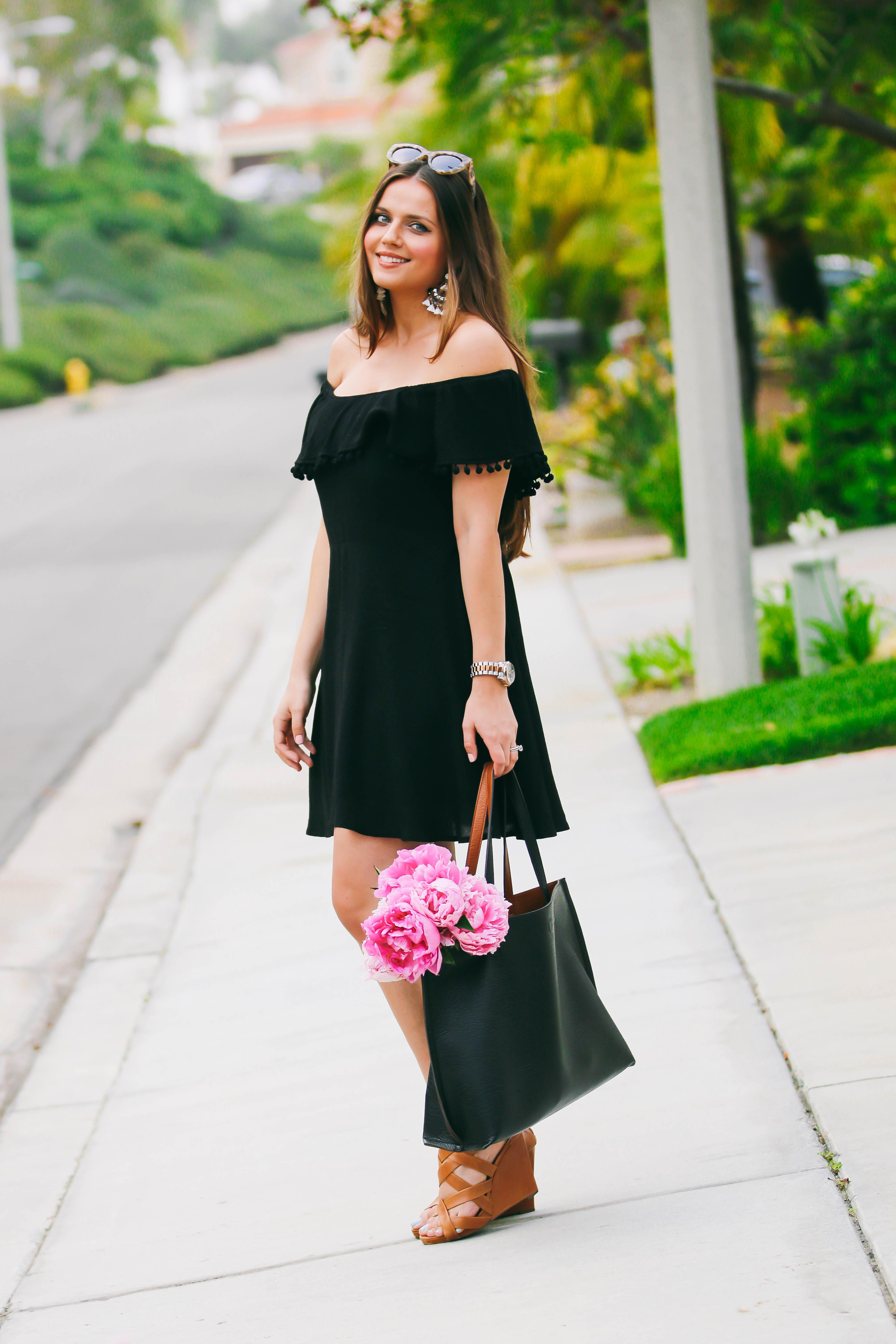 Ootd Black Pom Pom Dress Amp Statement Earrings