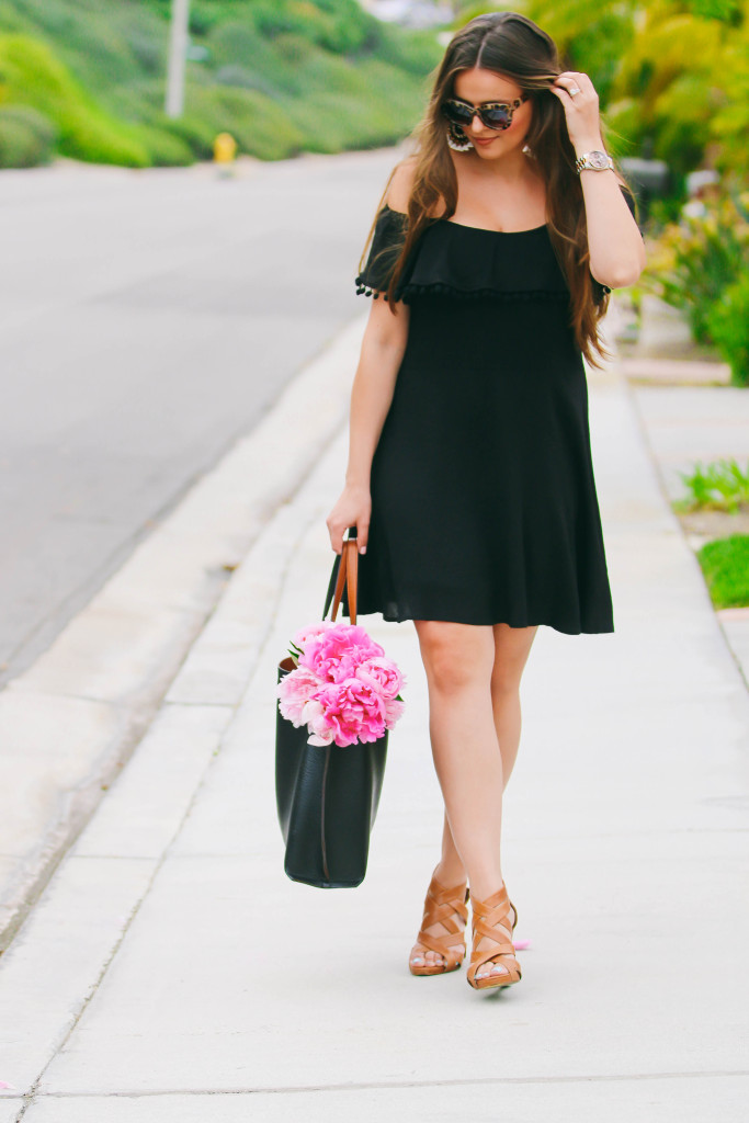 #OOTD // Black Pom Pom Dress & Statement Earrings | BondGirlGlam.com