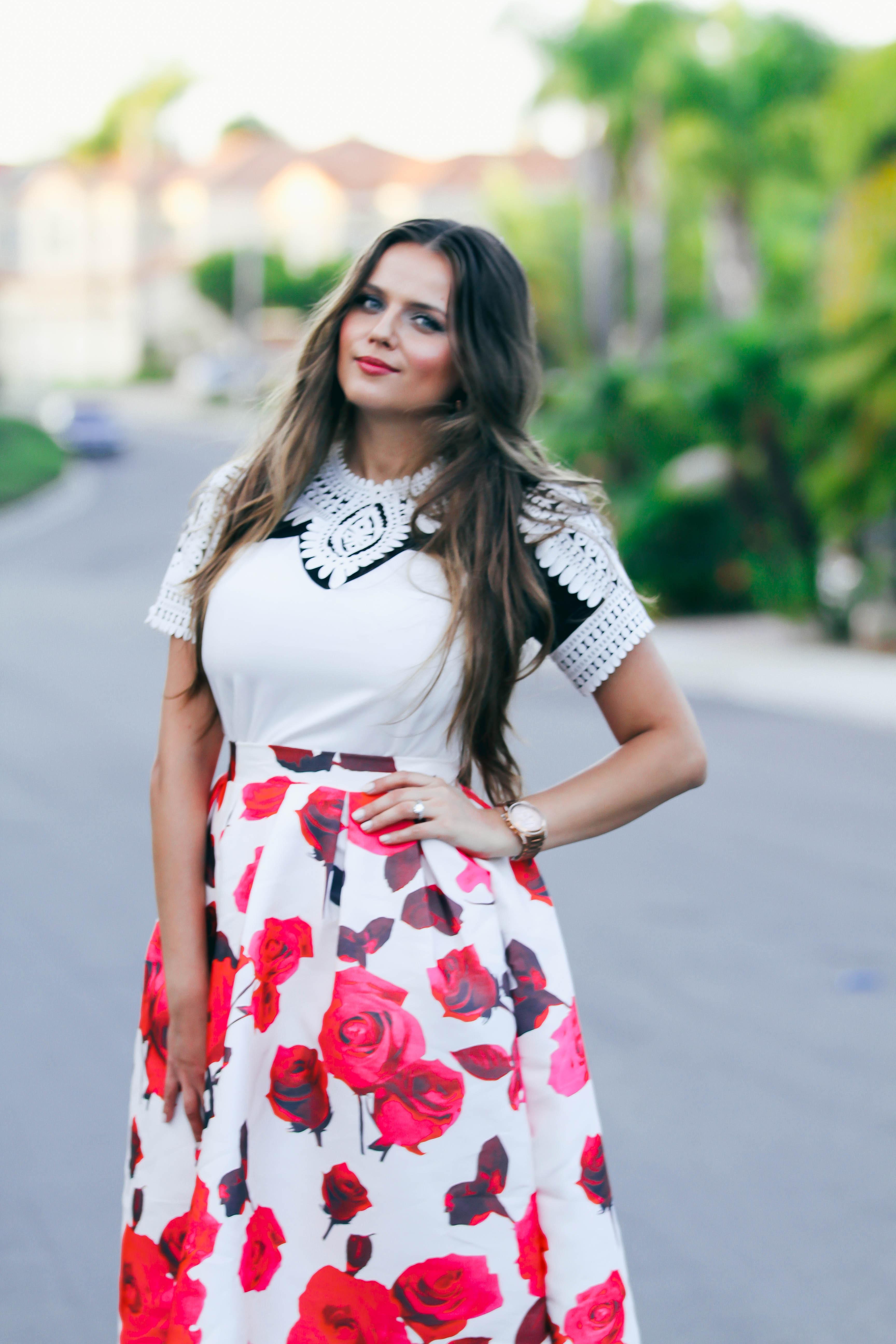 #OOTD // Black & White Cutout Top & Rose Midi Skirt   BondGirlGlam.com