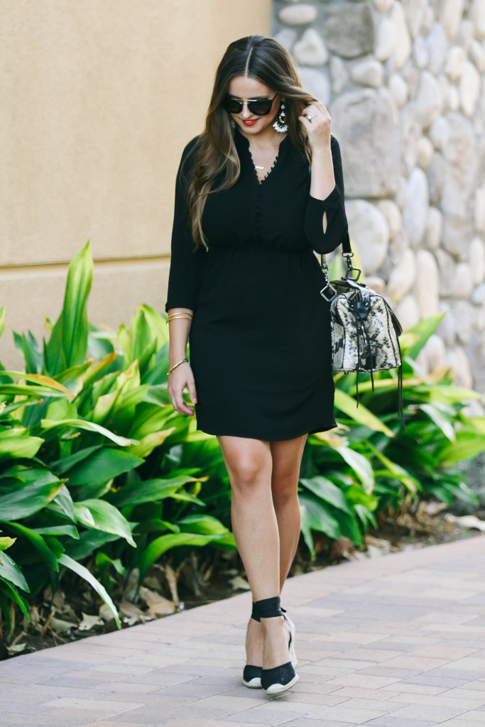 #OOTD // Black Button-Down Dress & Espadrille Wedges | BondGirlGlam.com