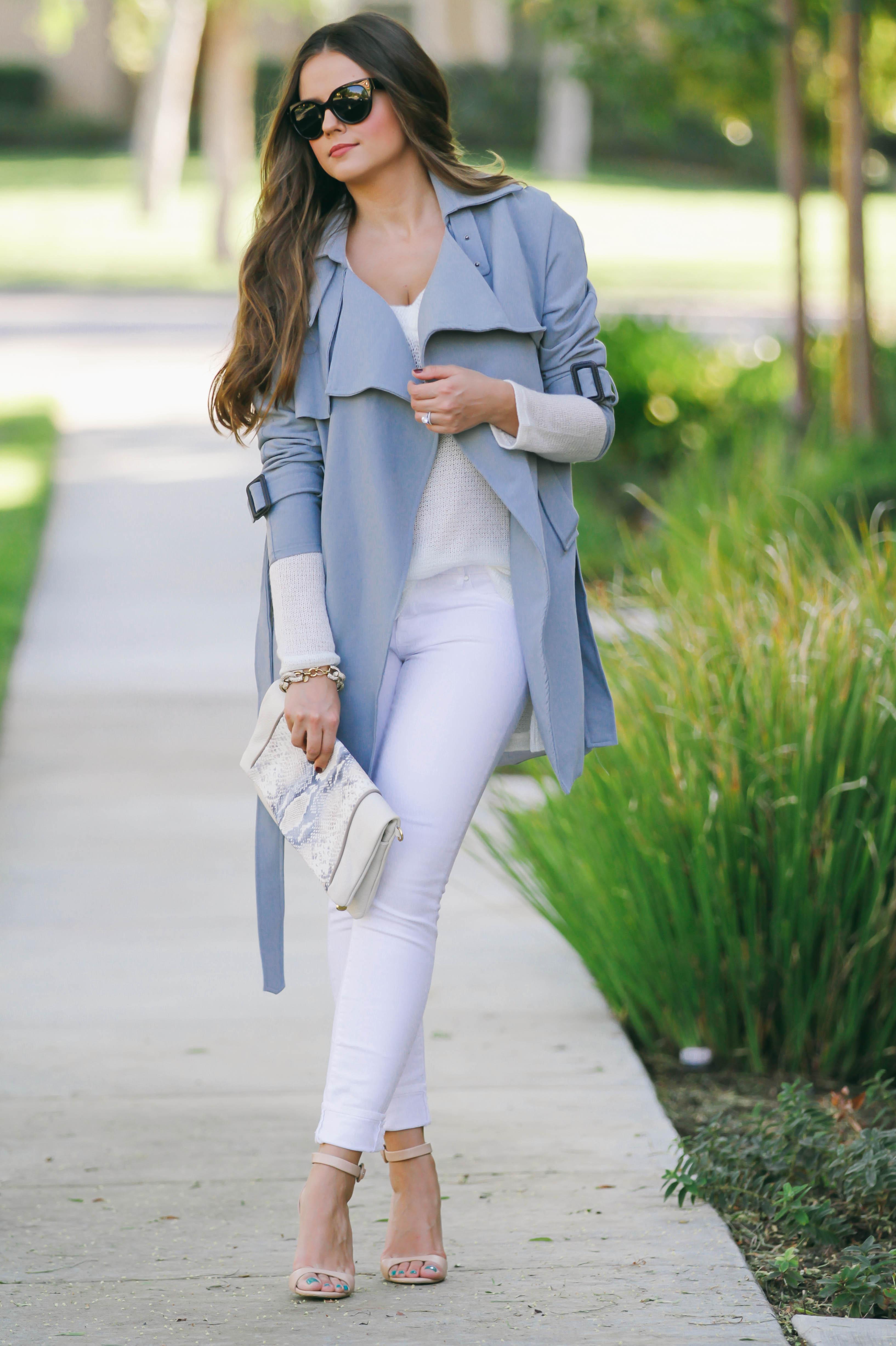 Ootd  Light Blue Trench Coat  White Skinny Jeans -4175