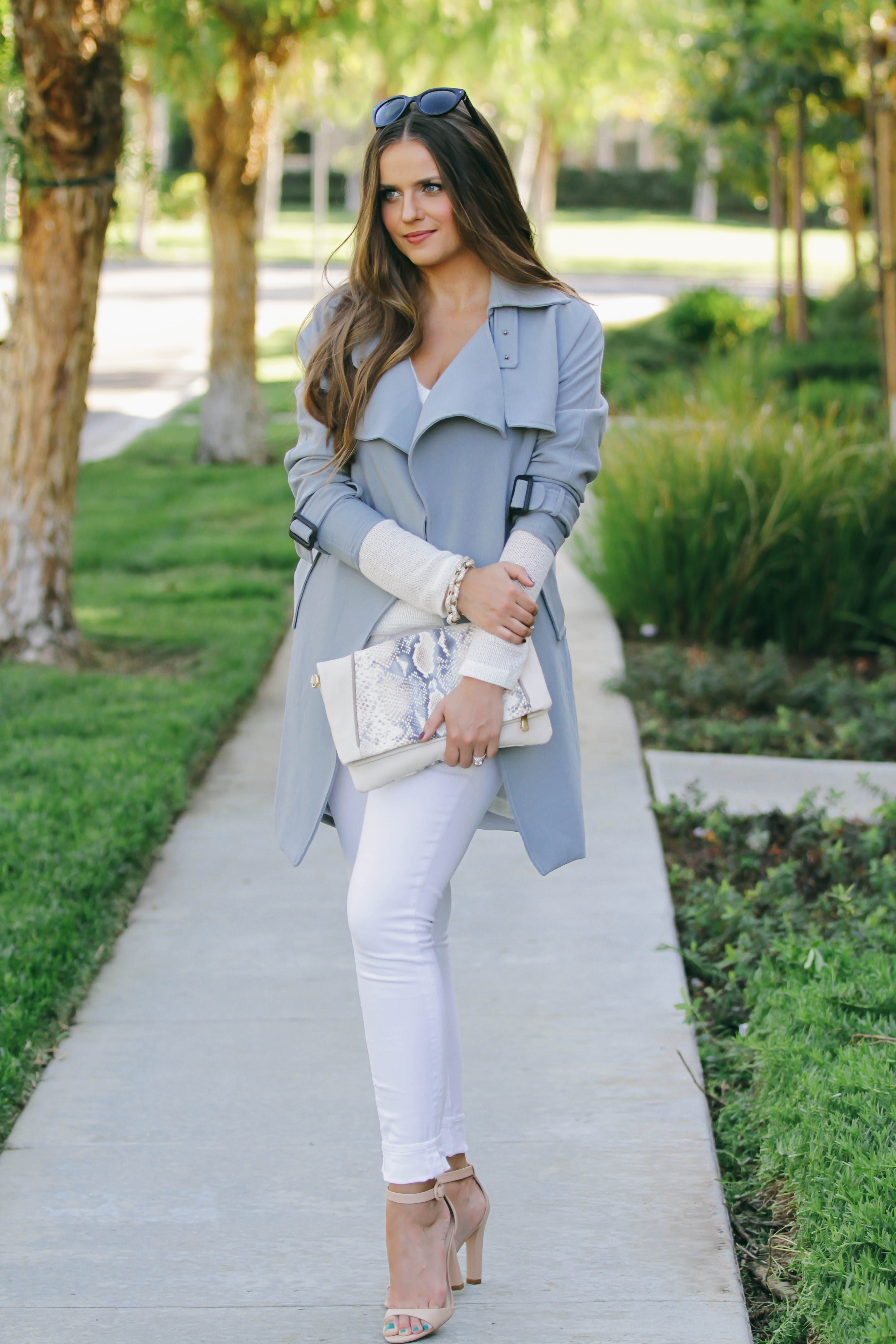 Ootd Light Blue Trench Coat Amp White Skinny Jeans