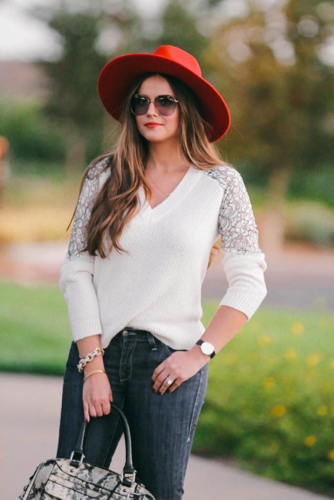 #OOTD // Lace-Detail Sweater & Flare Jeans | BondGirlGlam.com