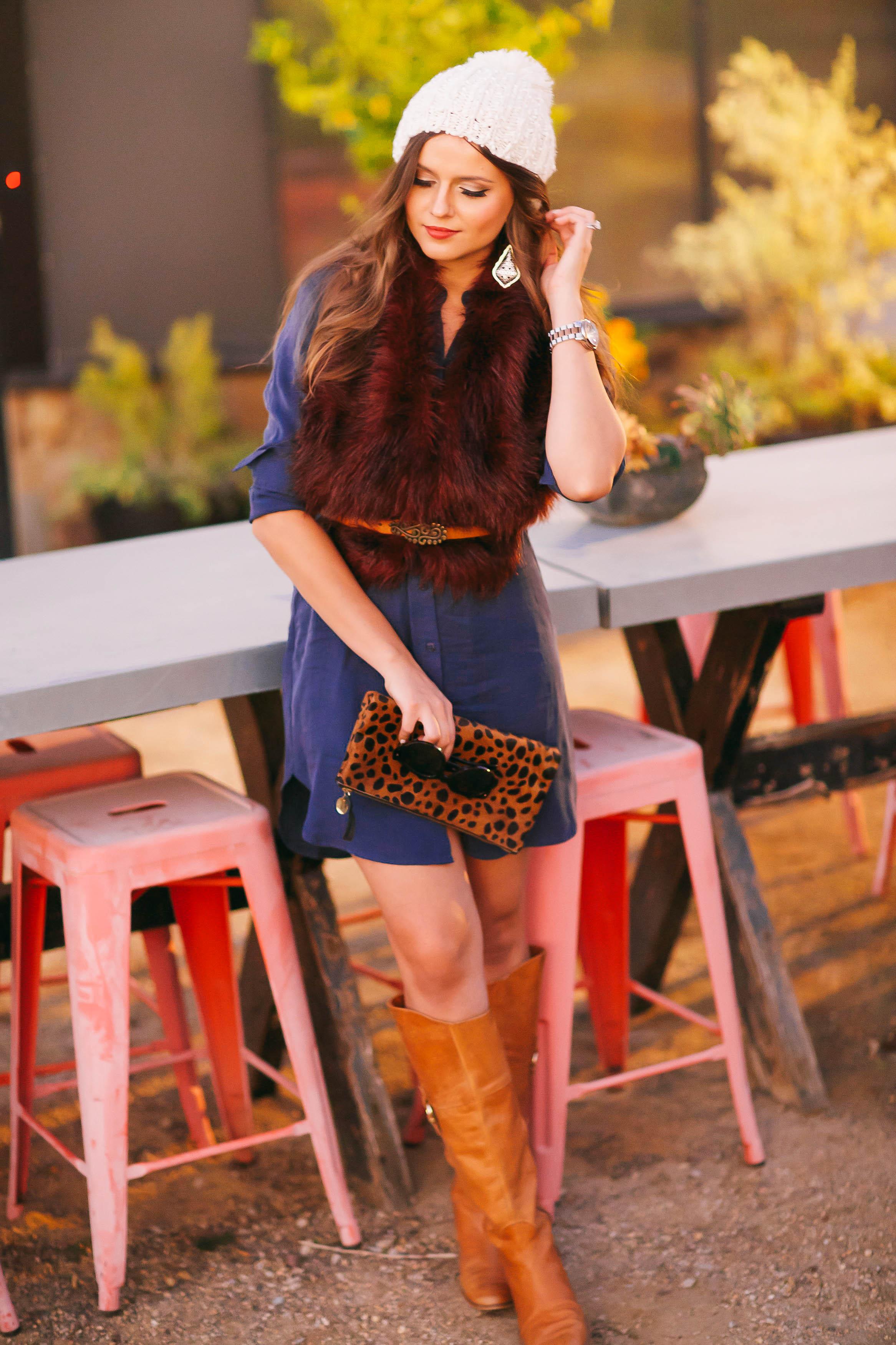 Ootd Burgundy Fur Stole Blue Shirtdress A Fashion Baby Gear Beauty