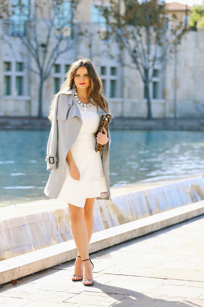 Ootd Blue Trench Coat Amp White Fit Amp Flare Dress
