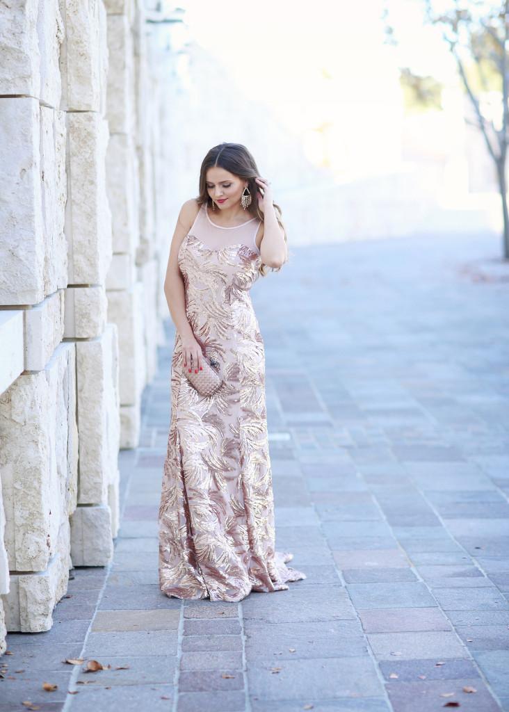 #OOTD // Rose Gold Sequin Mermaid Gown | BondGirlGlam.com