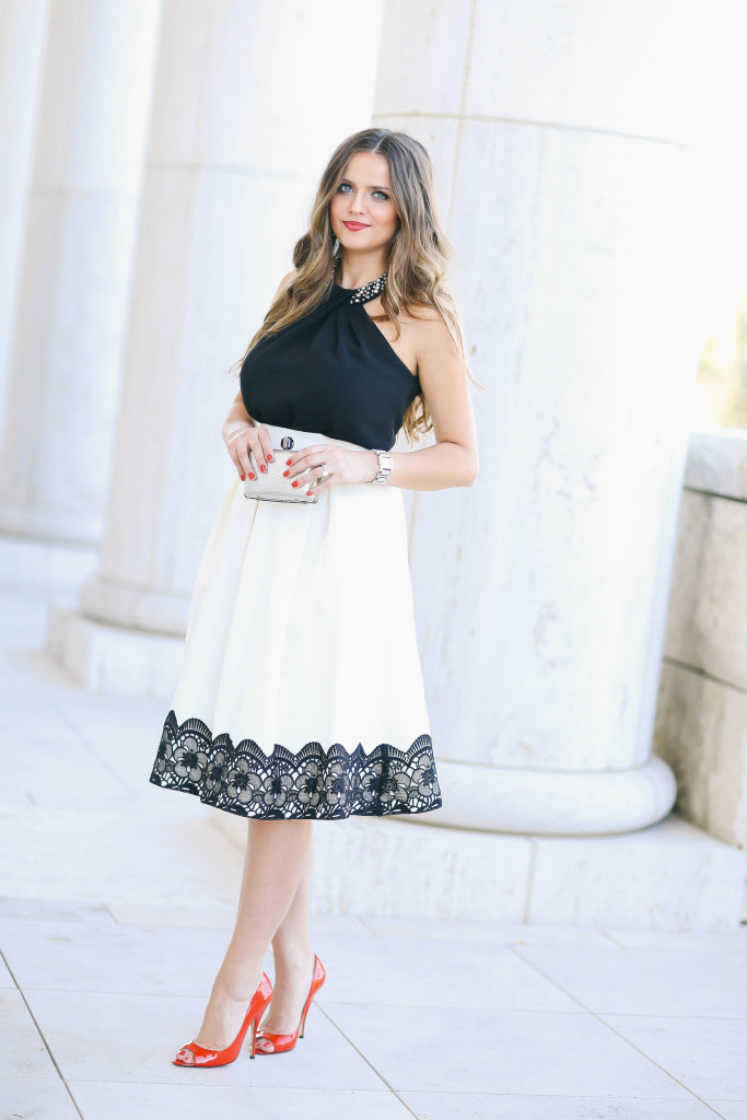 #OOTD // Beaded Black Top & Lace Ivory Midi Skirt | BondGirlGlam.com