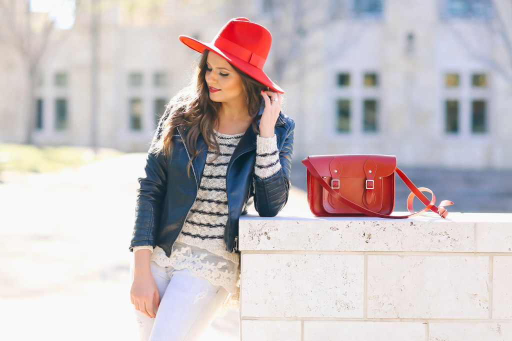 #OOTD // Moto Jacket, Striped Top, & Pops of Red | BondGirlGlam.com