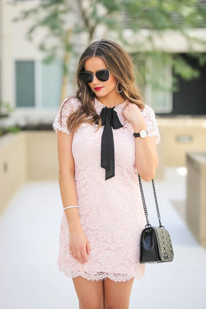 #OOTD // Blush Pink Lace Bow Dress   BondGirlGlam.com