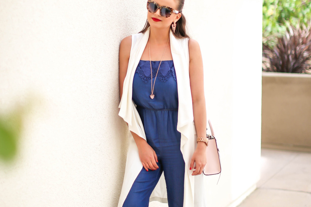 6476daa975c4 OOTD    Chambray Jumpsuit   White Duster Vest