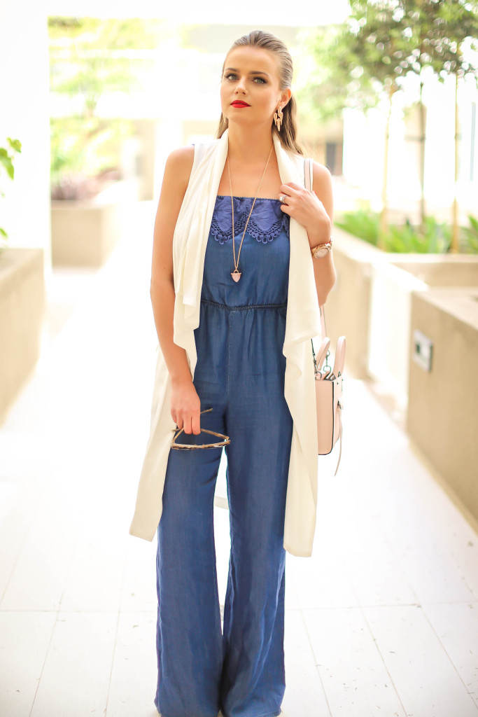 13d050b88a2c  OOTD    Chambray Jumpsuit   White Duster Vest