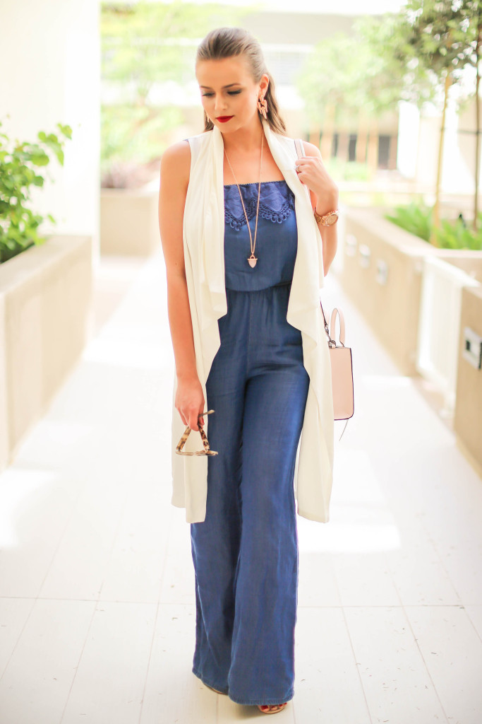 #OOTD // Chambray Jumpsuit & White Duster Vest   BondGirlGlam.com