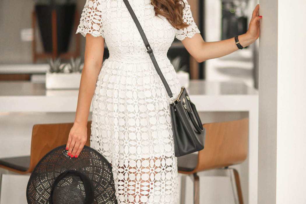 #OOTD // Black Floppy Hat, White Lace Dress, & Jeweled Flats | BondGirlGlam.com