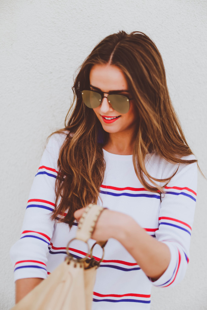 #OOTD // Red, White, & Blue Sweater Dress | BondGirlGlam.com