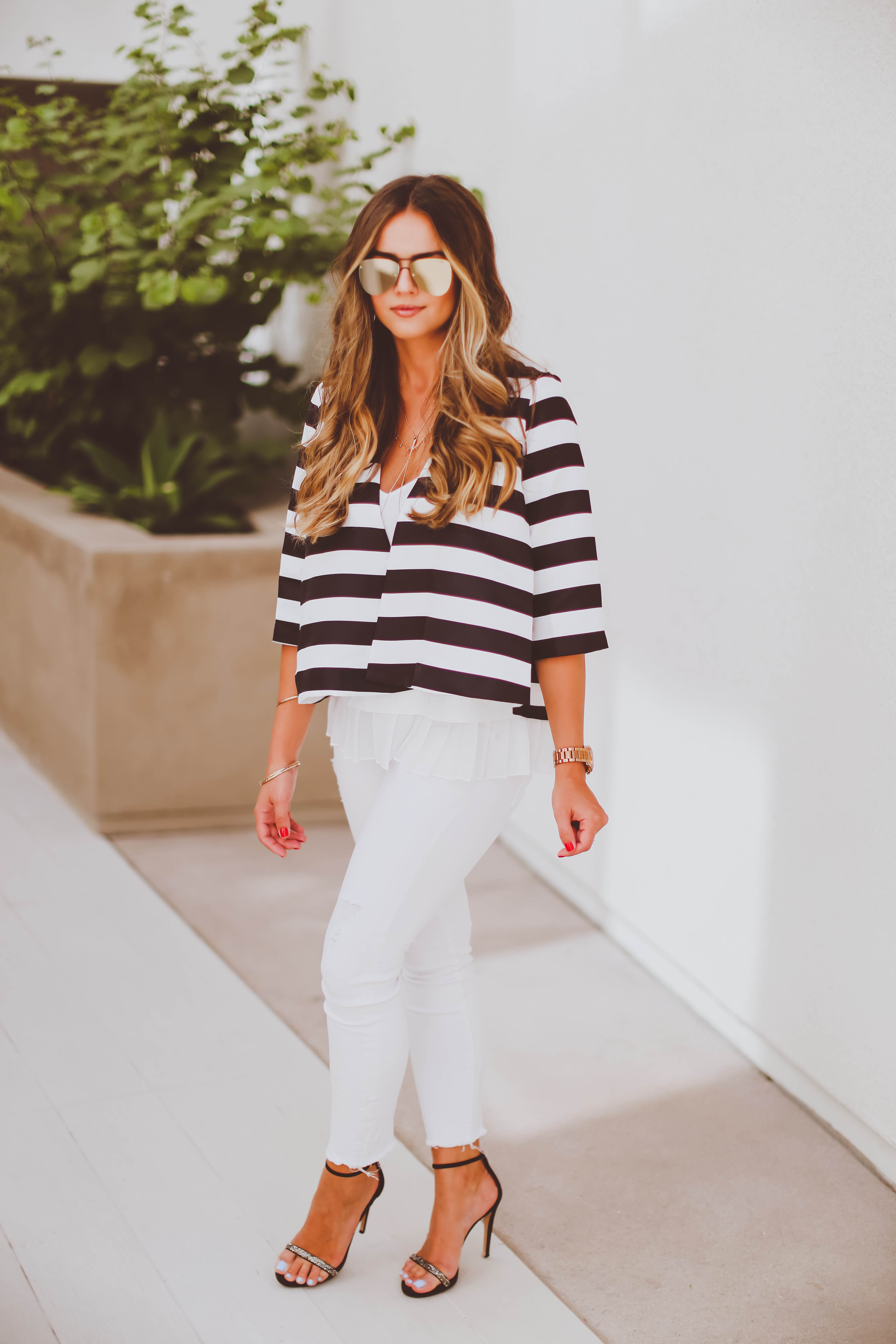 Ootd Striped Swing Jacket Amp White Skinnies
