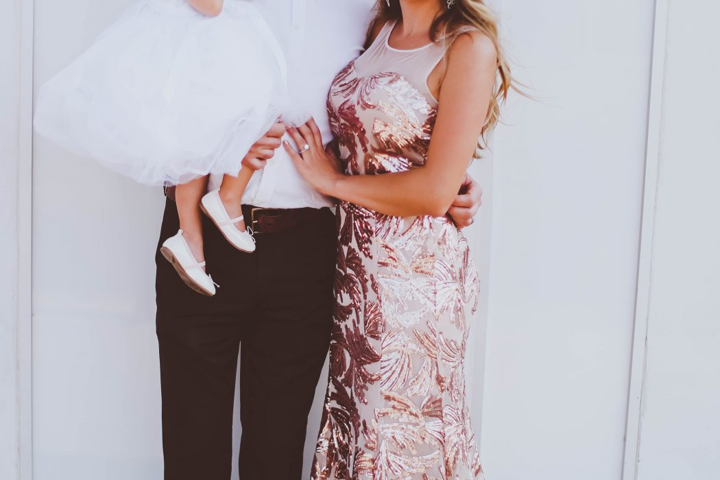 flower girl, wedding guests, family, rose gold sequin gown