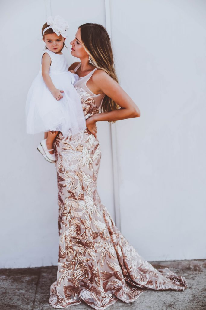 flower girl, wedding guest, mommy and daughter, rose gold sequin gown