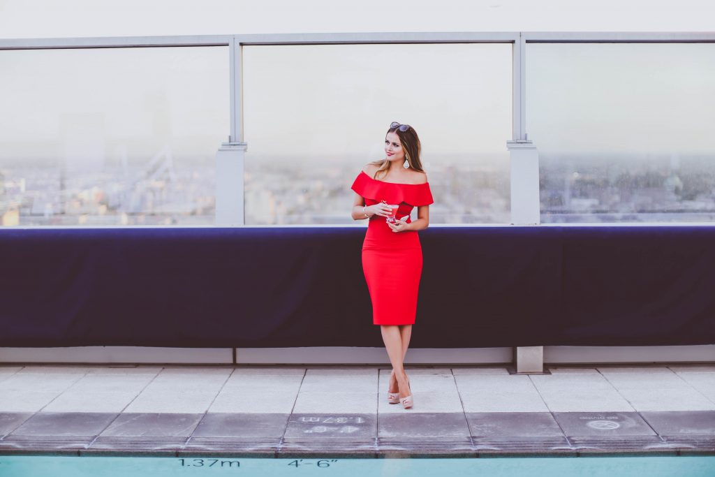 red off-the-shoulder frill bodycon dress, date night, wp24 rooftop, christian louboutin lady peep nude patent heels, bottega veneta clutch, karen walker number one sunglasses, ritz carlton los angeles, la live, pool rooftop