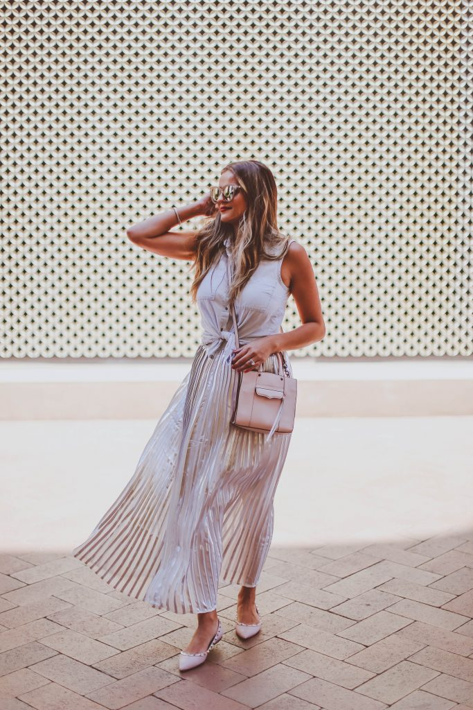 #OOTD // Tie-Front Chambray Top & Silver Pleated Maxi Skirt | BondGirlGlam.com