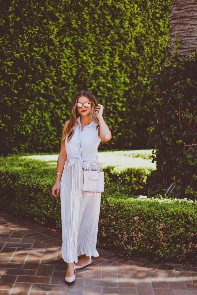 #OOTD // Tie-Front Chambray Top & Silver Pleated Maxi Skirt | BondGirlGlam.com