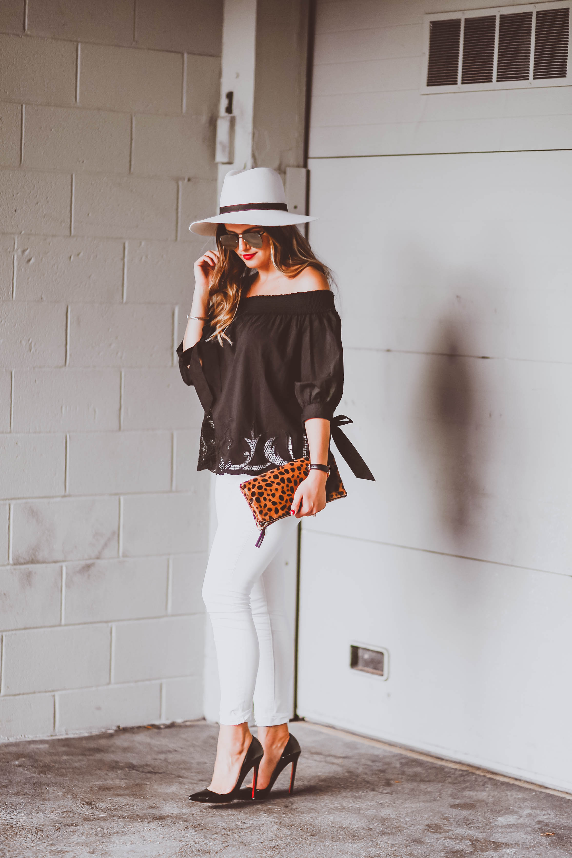 Ootd Black Off The Shoulder Cutout Top Amp White Skinny