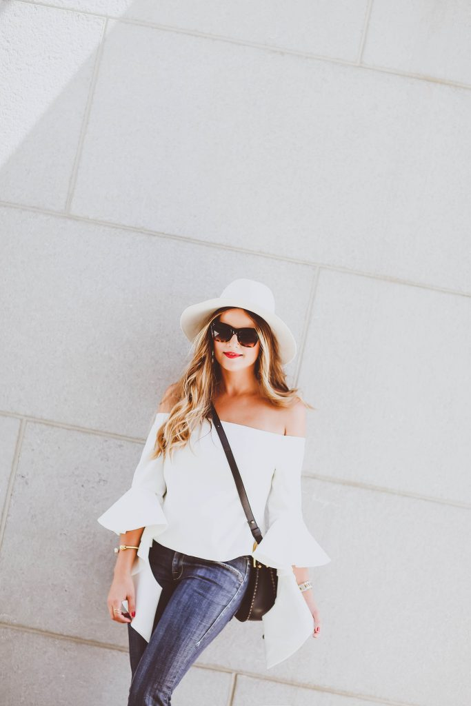 statement sleeves, flare jeans, fall outfit ideas, white fedora, chloe hudson bag, red lips, celine sunglasses
