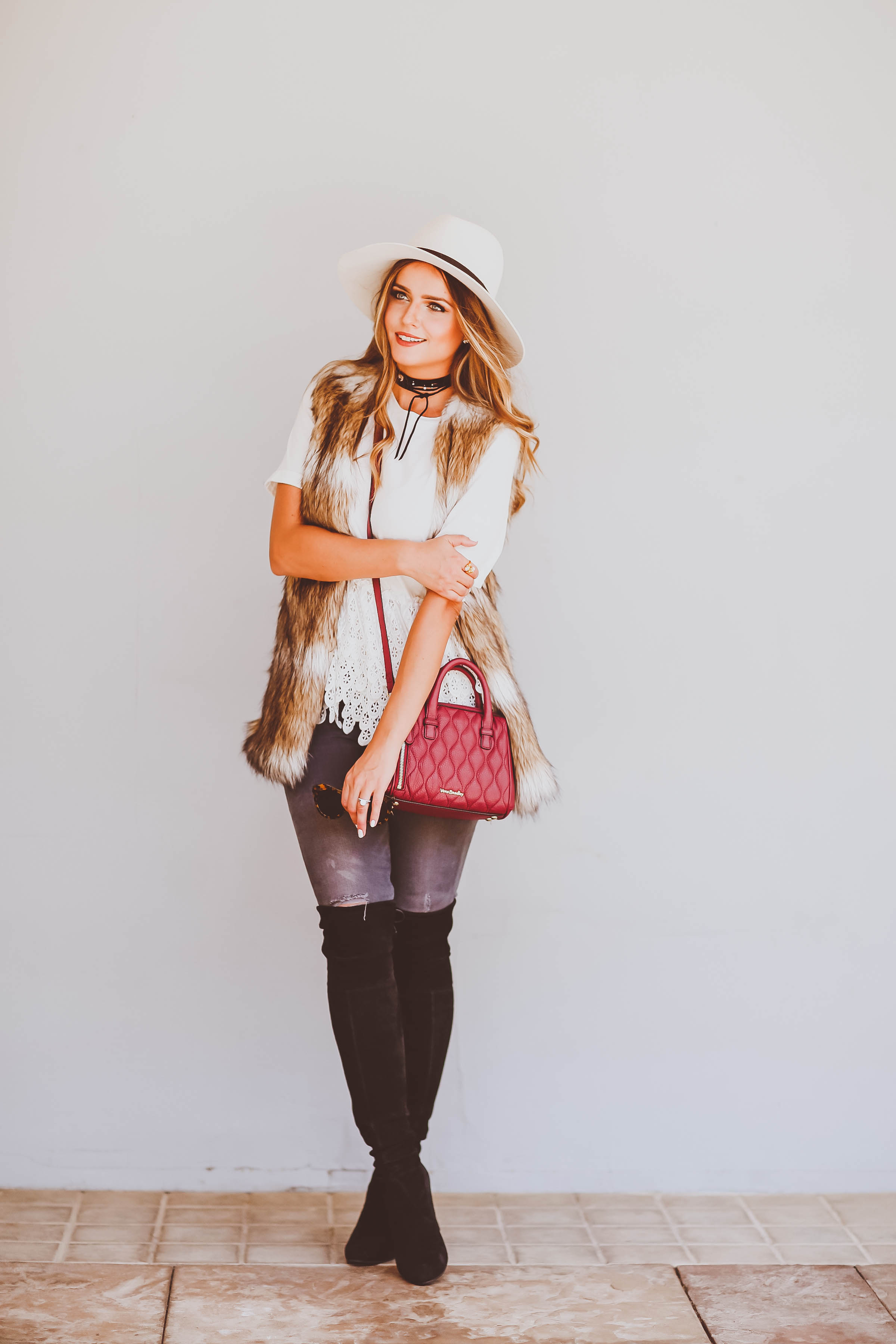 Ootd Faux Fur Amp A Pop Of Burgundy Bondgirlglam Com
